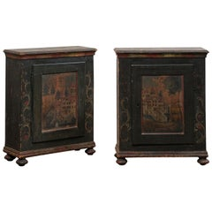 Pair of European Single-Door Cabinets with Original Hand Painted Finish