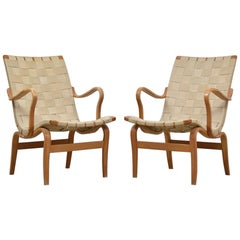 Pair of 'Eva' Lounge Chairs by Bruno Mathsson and Produced by DUX, Sweden 1960s