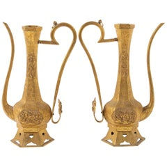 Pair of Ewers, China, Golden Copper Decor Flower Rinceau, Asian Art