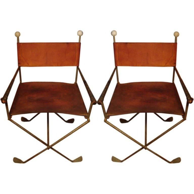 Pair of Exceedingly Unusual Chairs Constructed of Golf Clubs For Sale