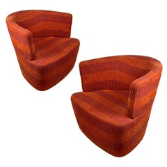 Pair of Excellent Orange and Red Heavy Weave Bucket Swivel Chairs on Chrome Base