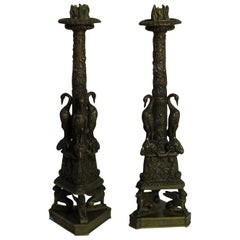 Pair of Exceptional Bronze Candlesticks after the Piranesi Model