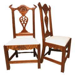 Pair of Exceptional Donald Dunlap Maple Carved Chippendale Style Side Chairs