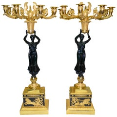 Pair of Exceptional French Empire Bronze Candelabra after Thomire