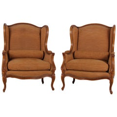 Pair of Exceptional French Wingback Chairs