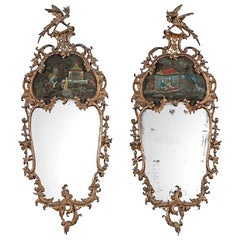 Pair of Exceptional Giltwood English Chinese Chippendale Period Mirrors