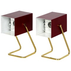 Pair of Exceptional Kaiser Mid-Century Modern Bedside Lamps with Brass Feet