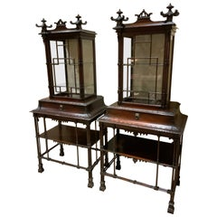 Pair of Exceptional Mahogany Chinese Chippendale Style Display Cabinets, C 1870