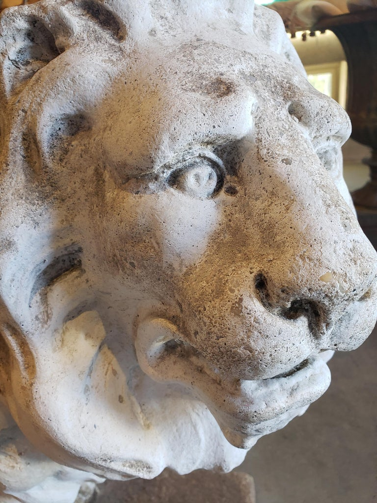 Pair of Exceptional Opposing Cement Lions with Hand Scraped Finish For Sale 6
