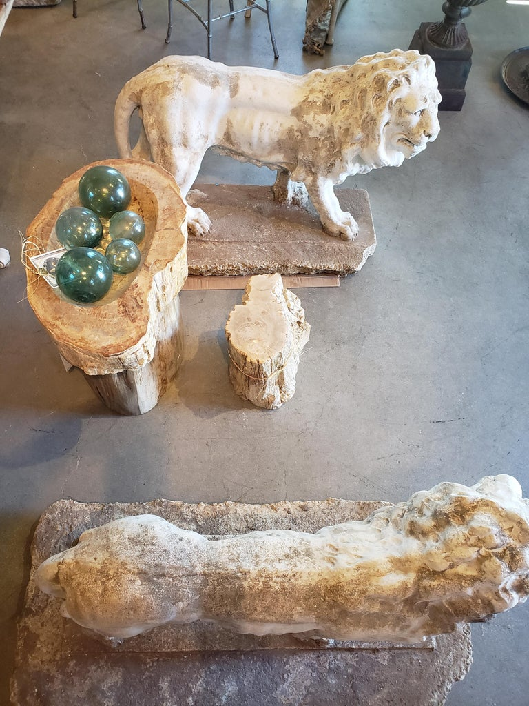 Pair of Exceptional Opposing Cement Lions with Hand Scraped Finish For Sale 12