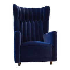 Pair of  Art Deco Velvet Covered Armchairs attributed to Guglielmo Ulrich