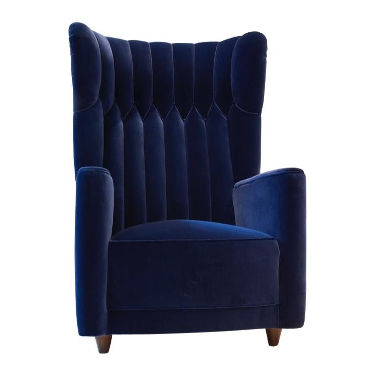 Pair of  Art Deco Velvet Covered Armchairs attributed to Guglielmo Ulrich For Sale