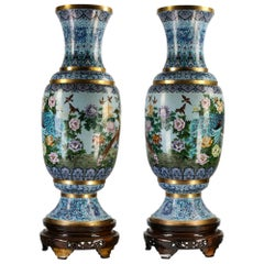 Pair of Exceptionally Large Chinese Enamel Vases