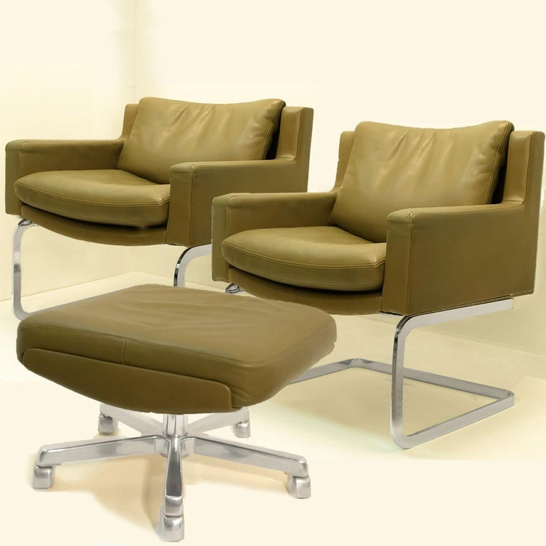 Leather Pair of Executive Armchairs and Hocker by Robert Haussmann for the Sede For Sale