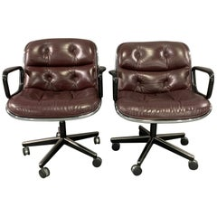 Pair of Executive Chairs by Charles Pollock for Knoll International in Leather
