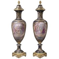 Pair of Exhibition Quality Sèvres-Style Porcelain Vases