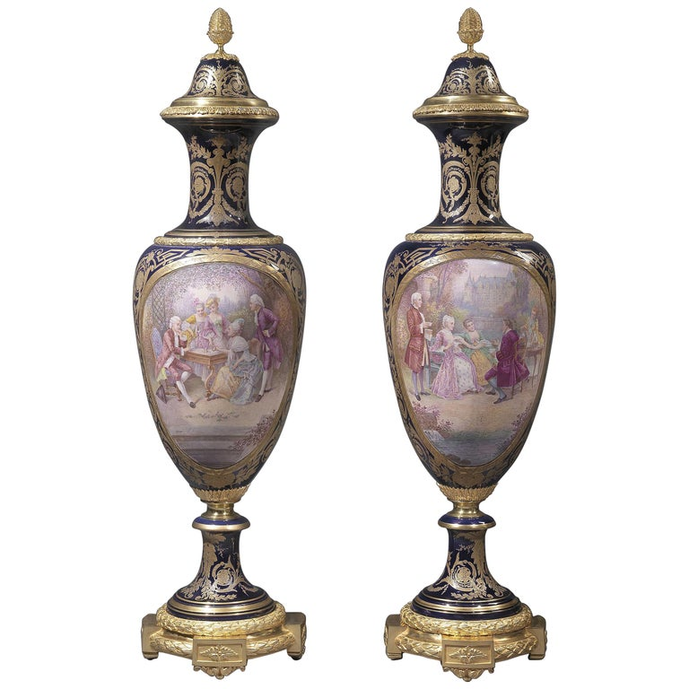 Pair of Exhibition Quality Sèvres-Style Porcelain Vases For Sale