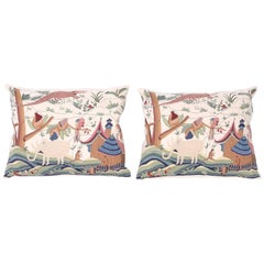 Pair of Exotic Needlework Pillows