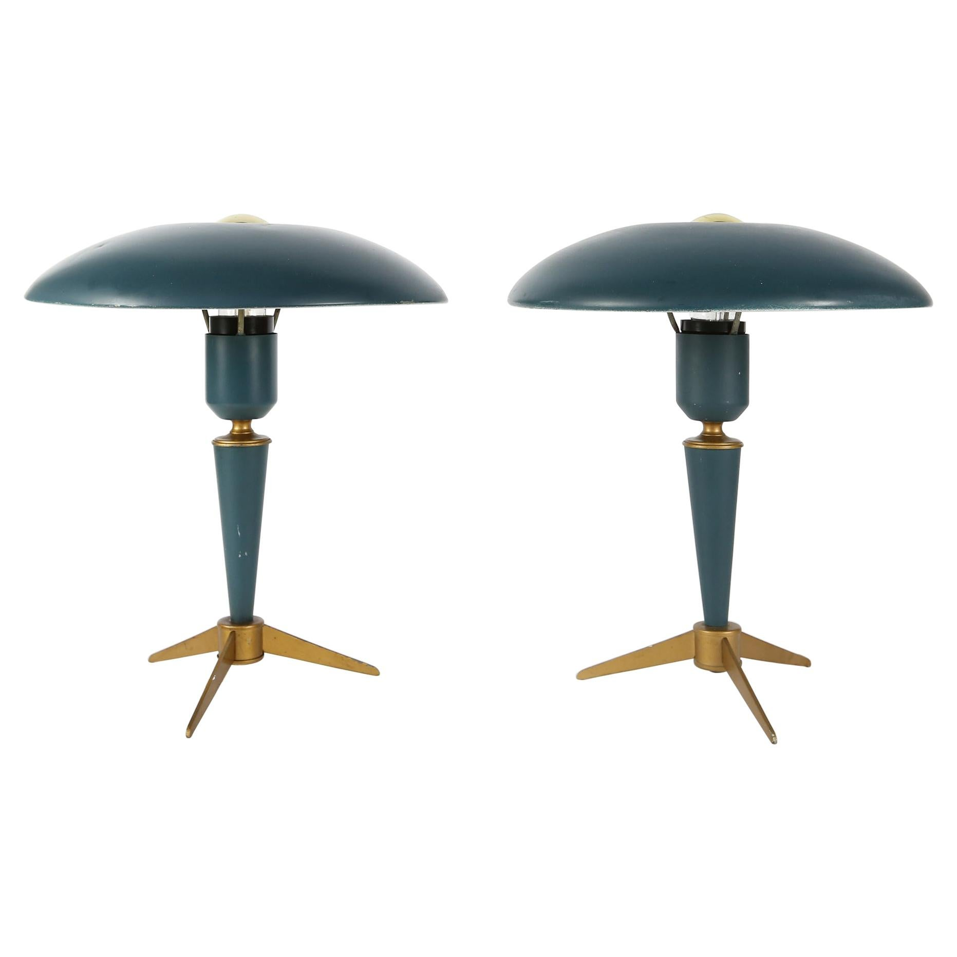 Pair of Expo 58 Tripod Desk Lamps by Louis Kalff for Philips, 1950s