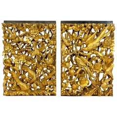 Pair of Exquisite 19th Century Chinese Export Carved Giltwood Panels