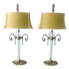 Pair of Exquisite Art Deco Glass and Gilded Brass Lamps
