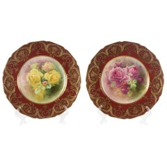 Pair of Exquisite Cabinet Plates, Antique Royal Doulton England, Gilt Encrusted