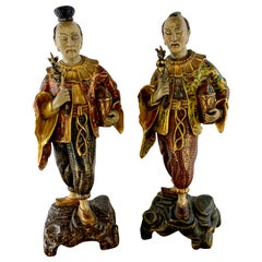 Pair of Exquisite Continental Chinoiserie Giltwood Figures
