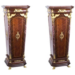 Pair of Exquisite Empire Style Marble-Topped Pedestals