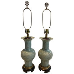 Pair of Exquisite Frederick Cooper Celadon Embossed Porcelain Table Lamps