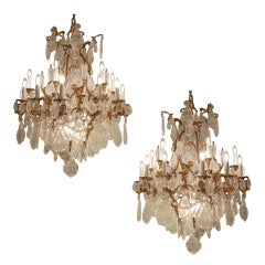 Unique pair Exquisite French Gilt Bronze Rock Crystal Chandeliers, circa 1880