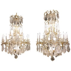 Pair of Exquisite French Rock Crystal  Chandeliers