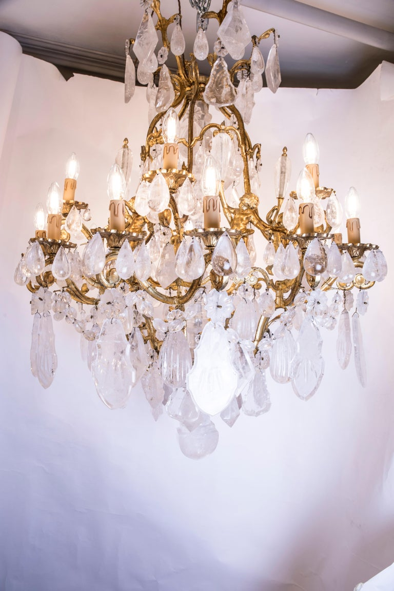 Pair of Exquisite French Rock Crystal Cherub Chandeliers For Sale 5