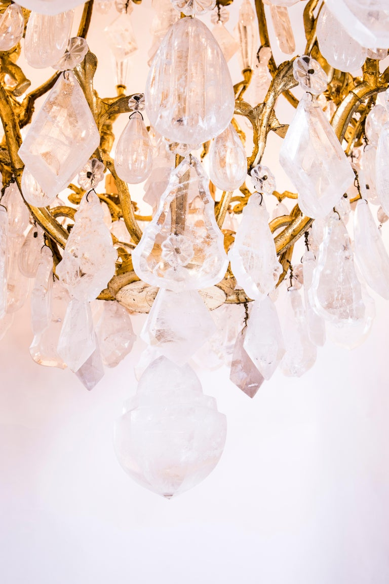 Pair of Exquisite French Rock Crystal Cherub Chandeliers For Sale 6