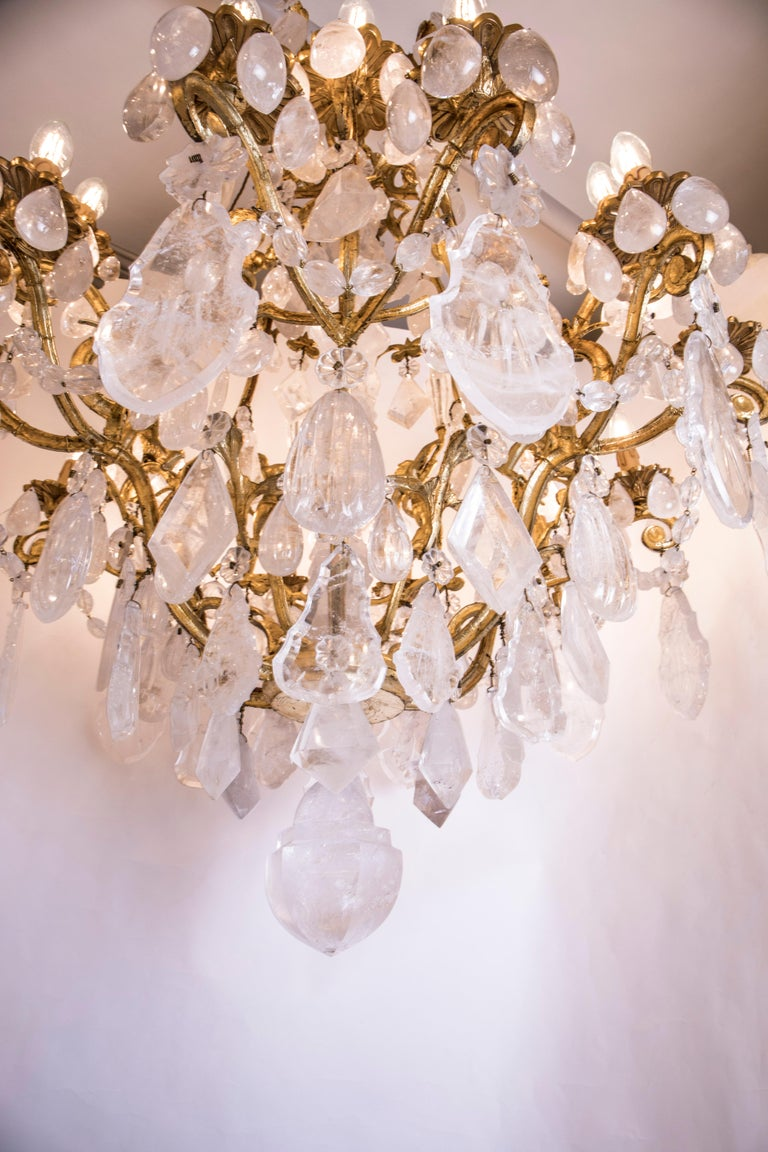 Pair of Exquisite French Rock Crystal Cherub Chandeliers For Sale 7