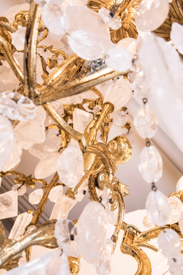 Pair of Exquisite French Rock Crystal Cherub Chandeliers For Sale 9