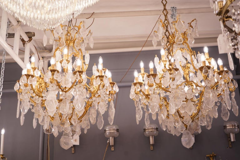 Late 19th Century Pair of Exquisite French Rock Crystal Cherub Chandeliers For Sale