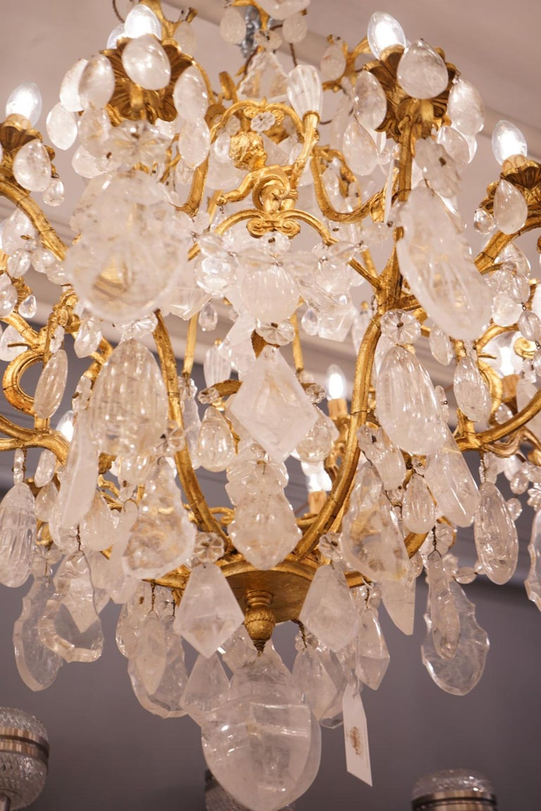 Bronze Pair of Exquisite French Rock Crystal Cherub Chandeliers For Sale