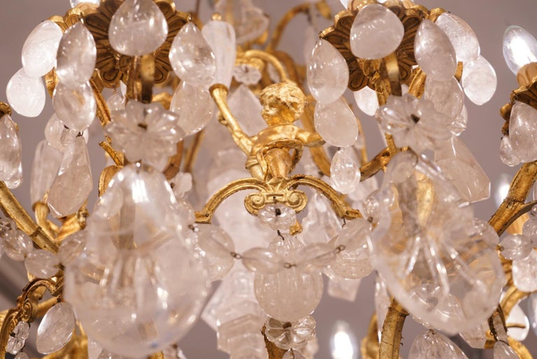 Pair of Exquisite French Rock Crystal Cherub Chandeliers For Sale 1