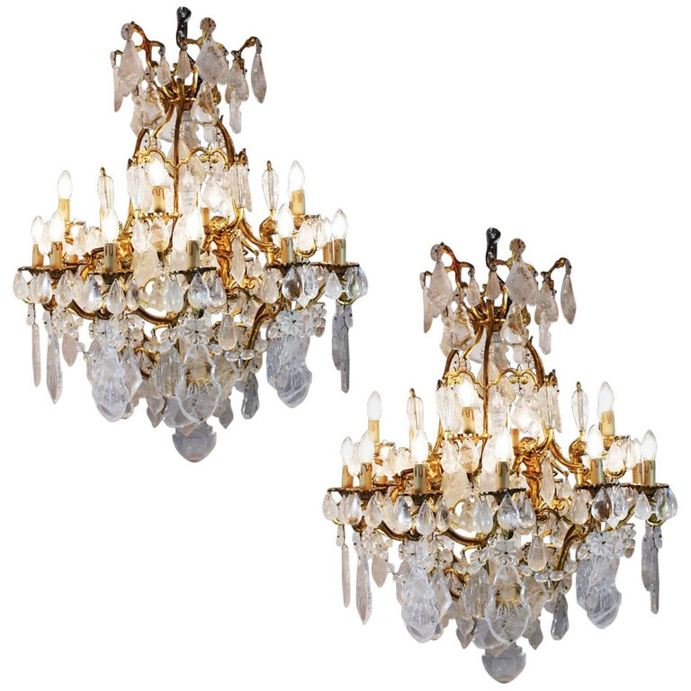 Pair of Exquisite French Rock Crystal Cherub Chandeliers For Sale