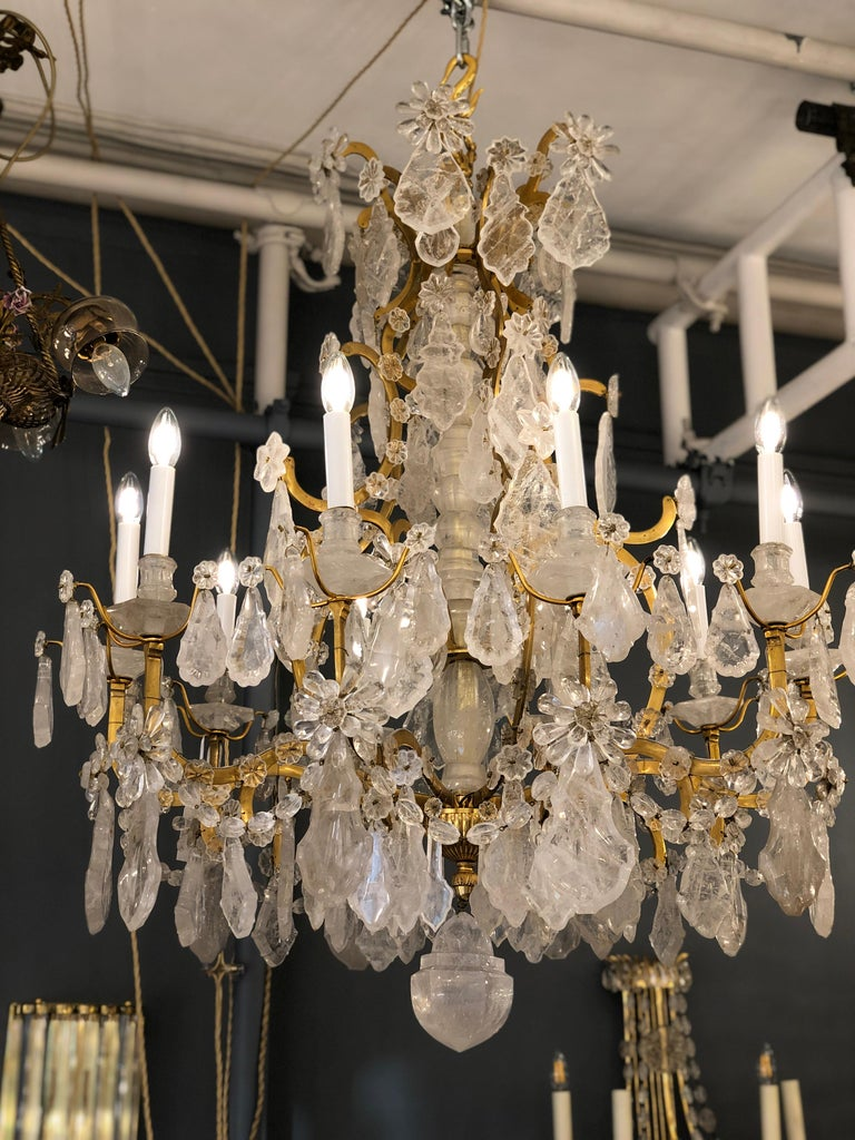 Pair of Exquisite Louis XV Style Rock Crystal Chandeliers For Sale 4