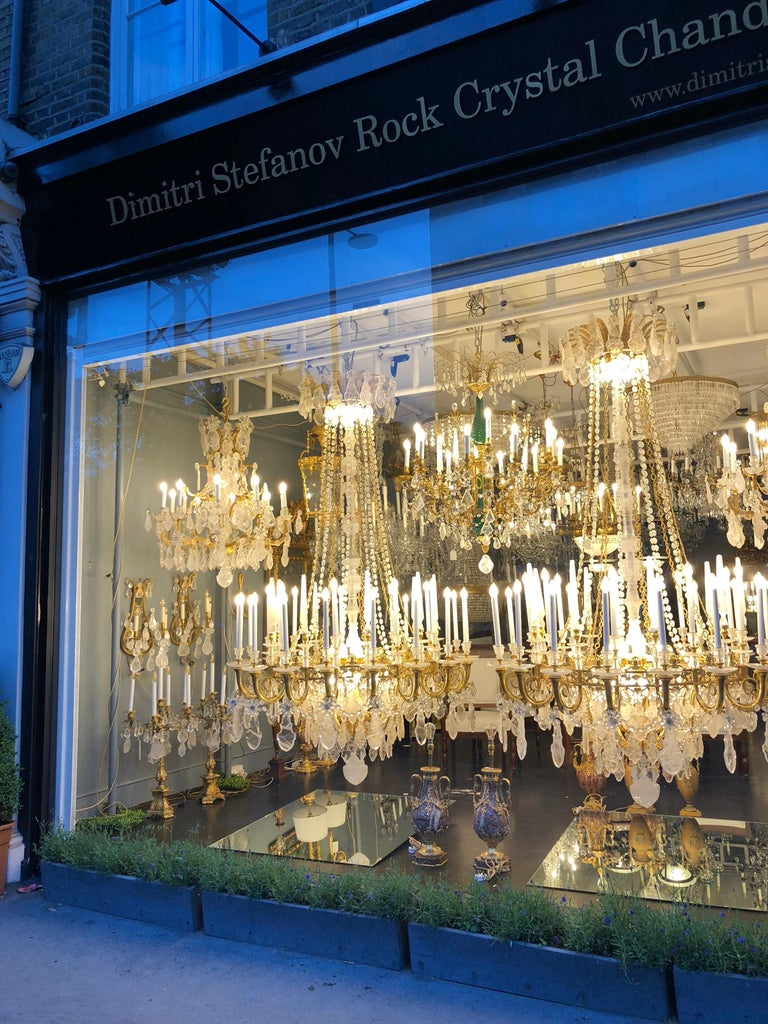 Bronze Pair of Exquisite Louis XV Style Rock Crystal Chandeliers For Sale