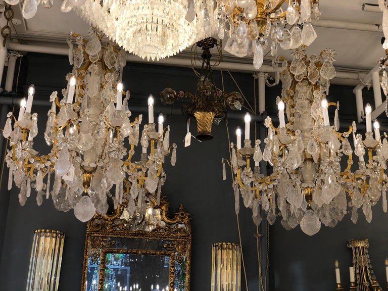 Pair of Exquisite Louis XV Style Rock Crystal Chandeliers For Sale 5
