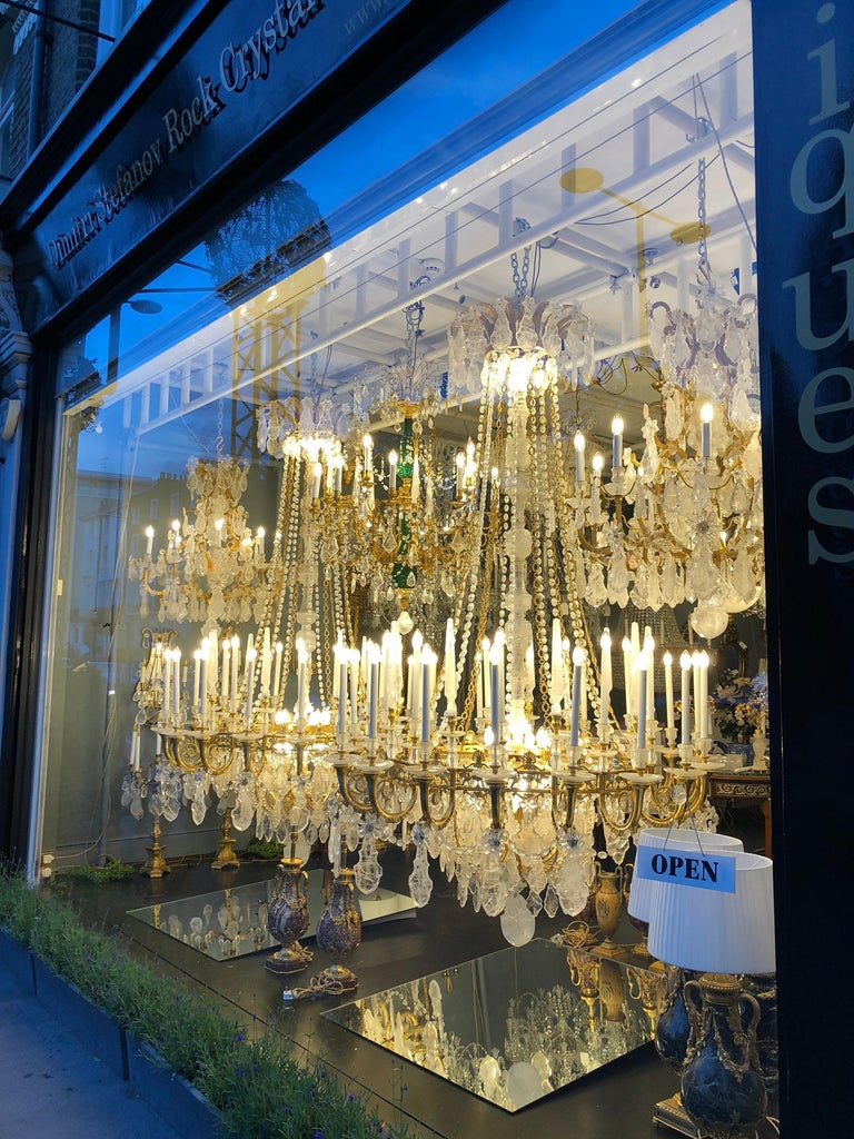 Pair of Exquisite Louis XV Style Rock Crystal Chandeliers For Sale 1