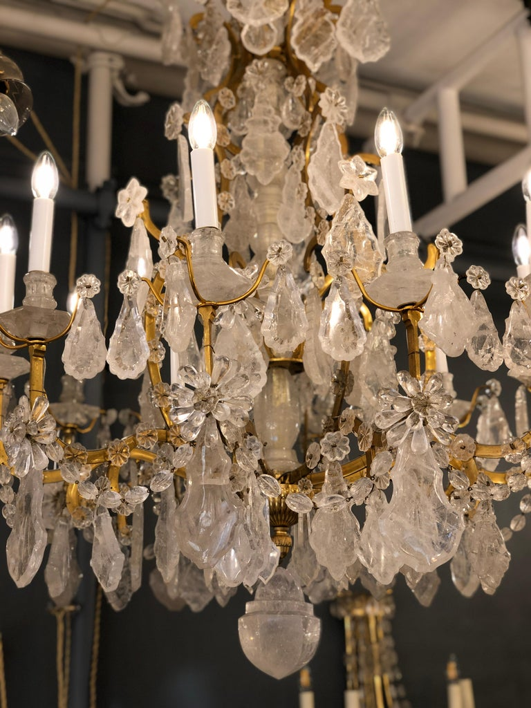 Pair of Exquisite Louis XV Style Rock Crystal Chandeliers For Sale 6