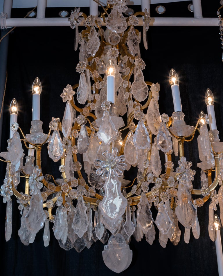 Pair of Exquisite Louis XV Style Rock Crystal Chandeliers For Sale 2