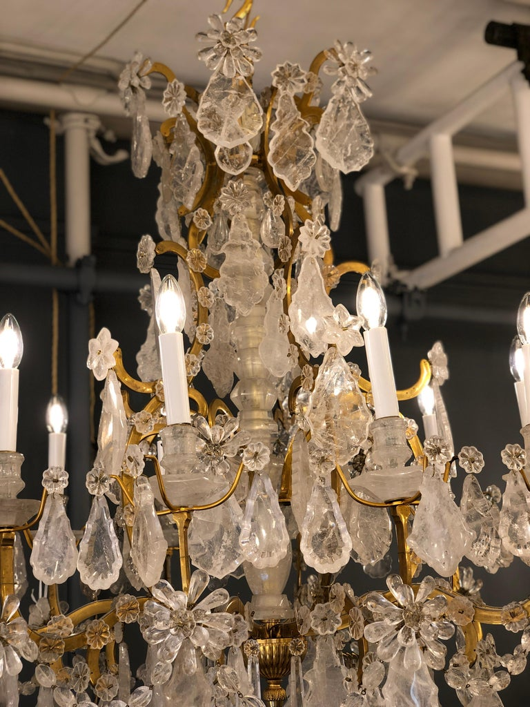 Pair of Exquisite Louis XV Style Rock Crystal Chandeliers For Sale 7