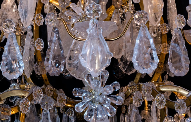 Pair of Exquisite Louis XV Style Rock Crystal Chandeliers For Sale 3