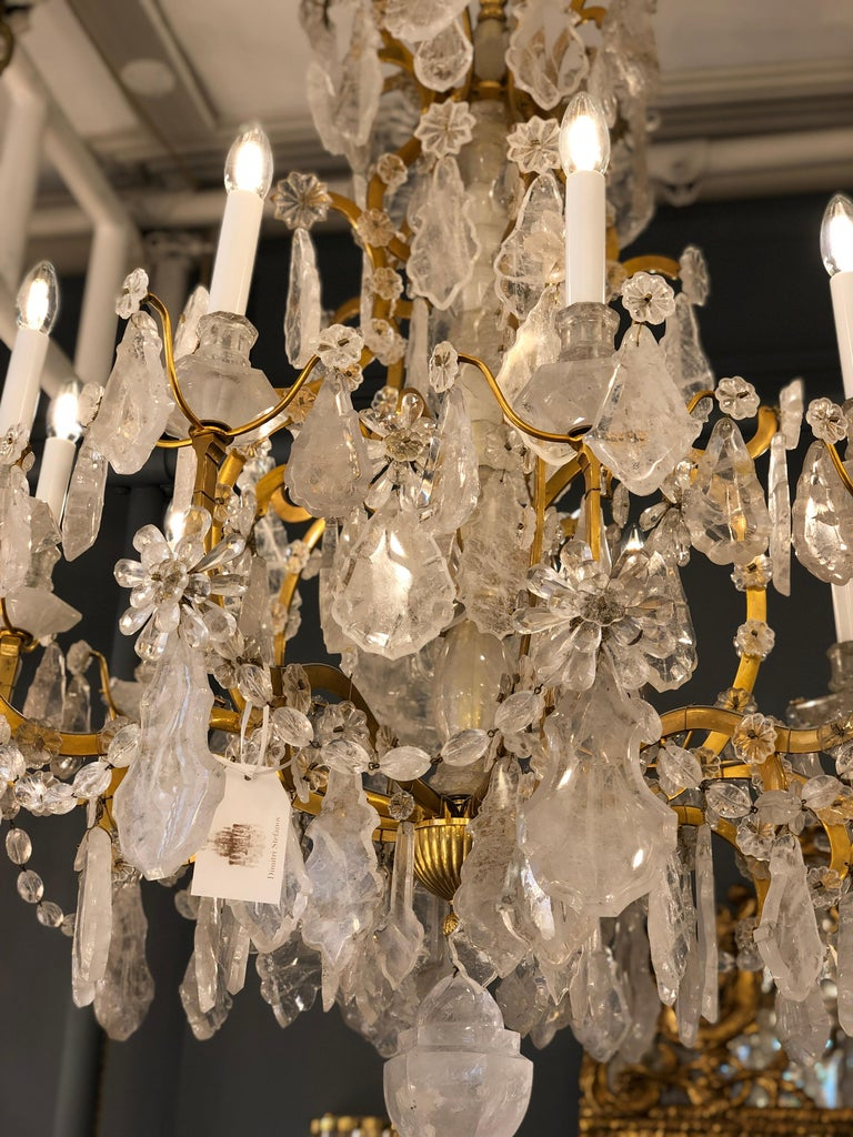 Pair of Exquisite Louis XV Style Rock Crystal Chandeliers For Sale 8