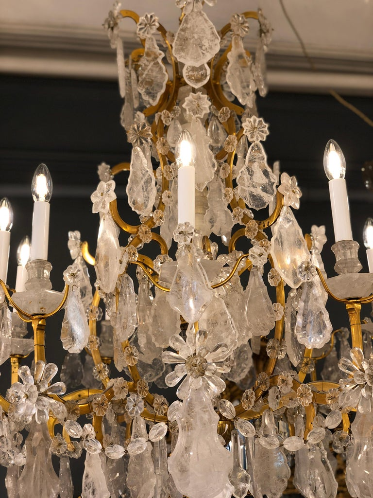 Pair of Exquisite Louis XV Style Rock Crystal Chandeliers For Sale 9