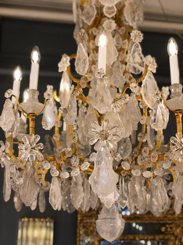 Pair of Exquisite Louis XV Style Rock Crystal Chandeliers For Sale 10